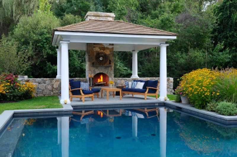Pool Gazebo With Fireplace