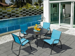 Telescope Casual Furniture Outdoor Living Blue With Blue Chairs