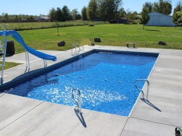 In Ground Vinyl Liner Geometric Swimming Pool With Slide And Side Steps