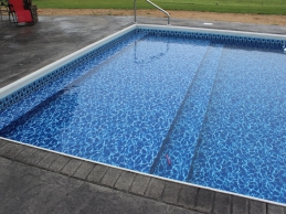 In Ground Vinyl Liner Pool With Full Width Steps Sun Deck