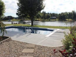 Geometric Vinyl Liner In Ground Pool With Diving Board