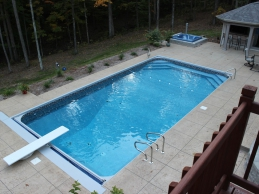 Vinyl Liner In Ground Pool Automatic Cover, Hot Tub, Retaining Wall And Diving Board Medium