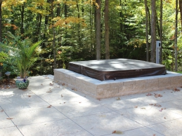 Hot Tub With Custom Built Retaining Wall Outdoor